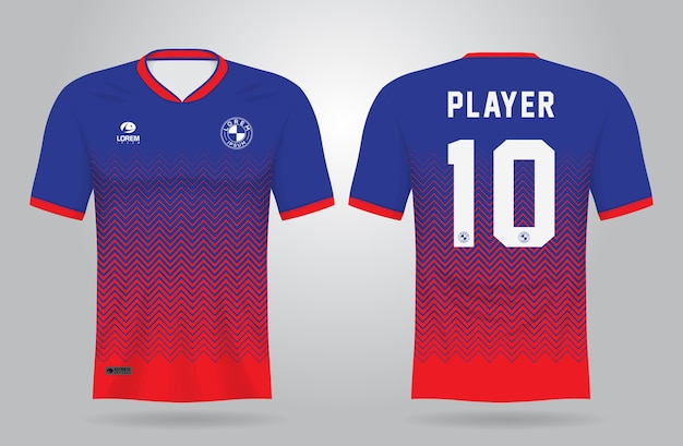 Blue red sports jersey template for team uniforms