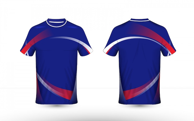 Blue, red and white layout e-sport t-shirt template