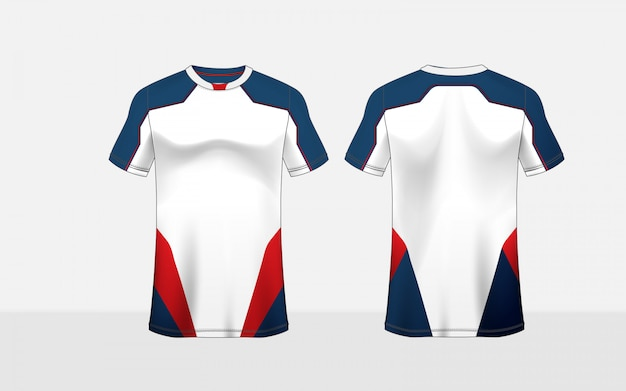 Blue, red and white pattern layout e-sport t-shirt design template