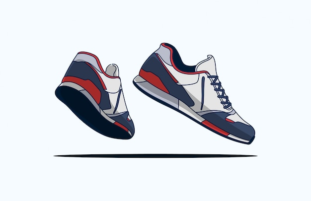 Blue red white sneakers