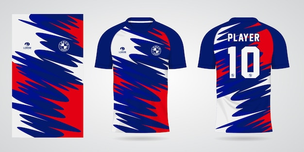 Blue red white sports jersey template for team uniforms and soccer t shirt design