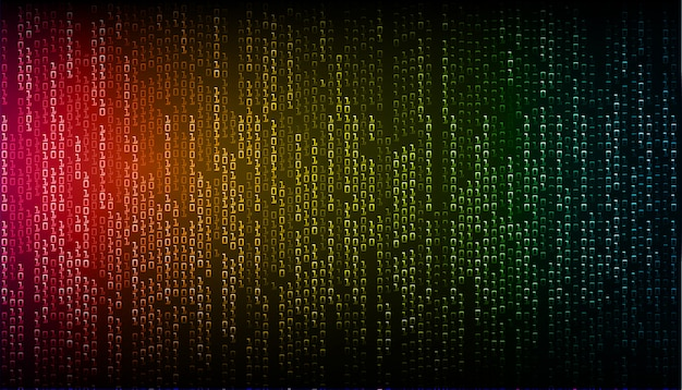 Blue red yellow binary cyber circuit future technology concept background