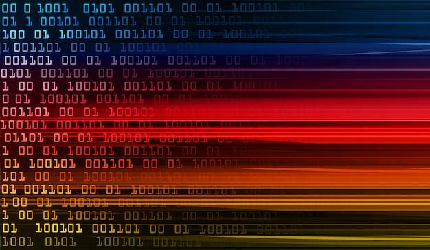 青赤黄色のバイナリサイバー回路将来の技術概念の背景
