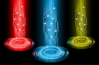 Blue red yellow cyber future technology concept background