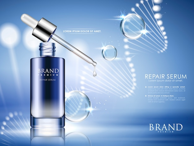 Blue repair serum with helical structure and water drops,  illustration