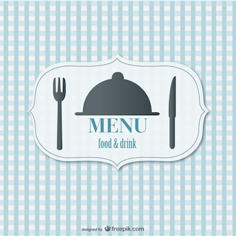 Blue restaurant menu with a fork and a knife