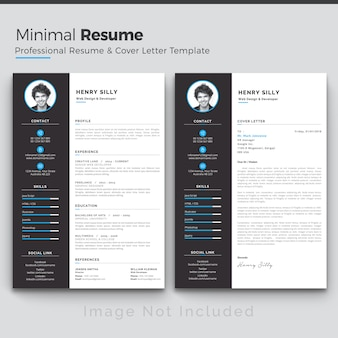 Blue resume template & flat professional curriculum template