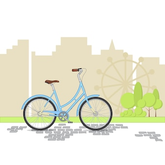 Blue retro bicycle on city background. colorful bike in park. flat vector illustration.