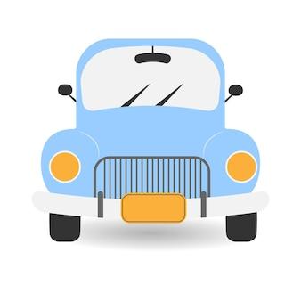 파란색 복고풍 자동차 헤드라이트가 있는 파란색 픽업 트럭