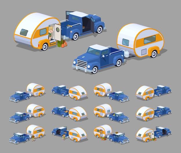 Blue retro pickup with orange-white rv camper.