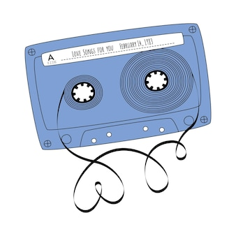 白い背景ベクトルに分離された落書きスタイルの青いレトロなテープカセットビンテージオーディオミックステープ...