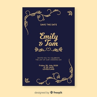 Blue retro wedding invitation template