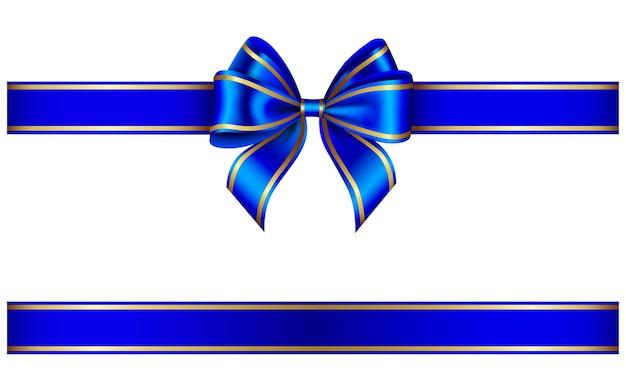 青いリボンと金の縁取りの弓