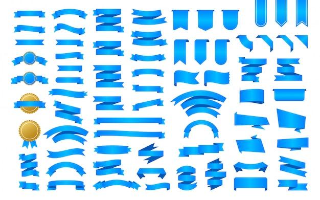 青いリボンのバナー。リボン、どんな目的にも最適なデザイン。ロイヤルリボン。装飾要素。メダルセット。割引バナープロモーションテンプレート。ステッカーを割引します。ストックイラスト。