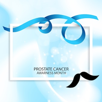 Blue ribbon cancer prostate awarness month illustration