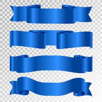 Blue ribbon isolated on transparent background