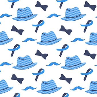 Blue ribbon, mustache, hat seamless pattern. prostate cancer awareness month concept.