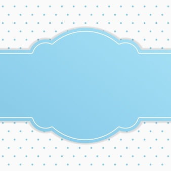 Blue ribbon text frame with white small polka dot background