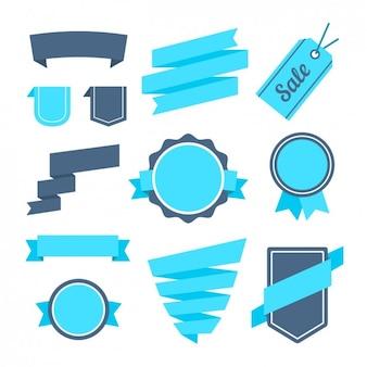 Blue ribbons, badges and label design
