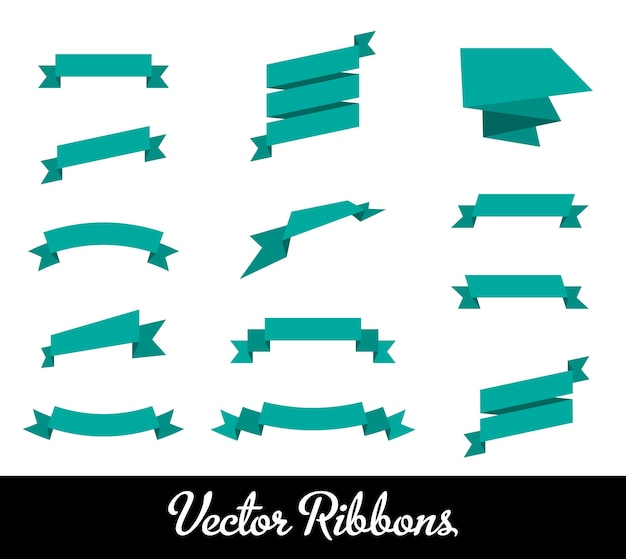 Blue ribbons set