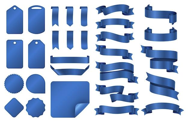 青いリボン。ラッピングシルクリボンバナーと値札バッジベクトルセット