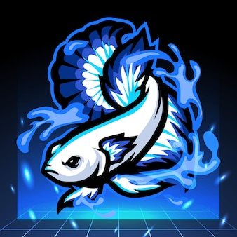 Синий обод бетта рыба талисман дизайн логотипа киберспорта
