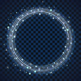블루 링 프레임. 밝은 반짝임으로 반짝이는 라운드.