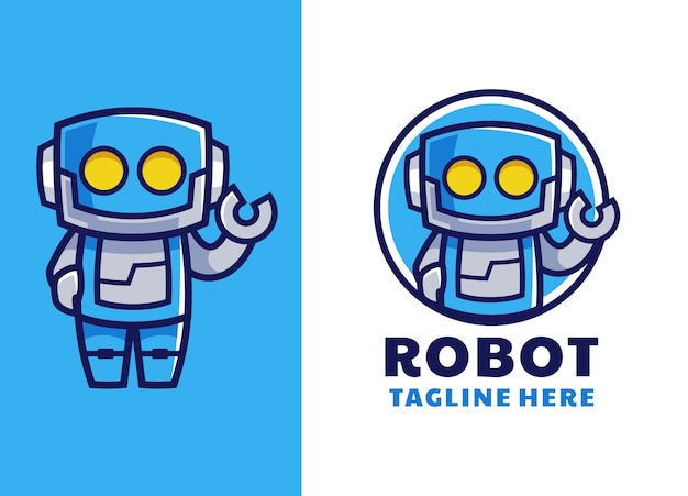 Blue robot cartoon mascot logo design