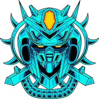 青いロボットヘッドマスコットロゴ