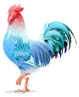 Blue rooster symbol 2017 by chinese calendar