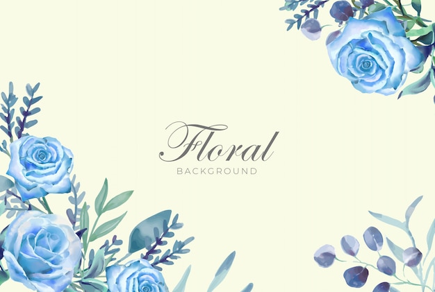Blue rose watercolor background