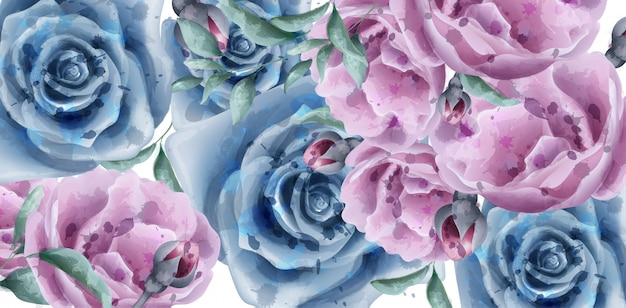 Blue roses watercolor banner
