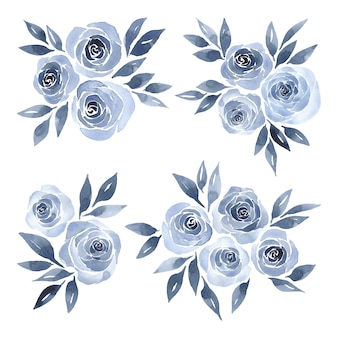 Blue roses watercolor floral arrangement