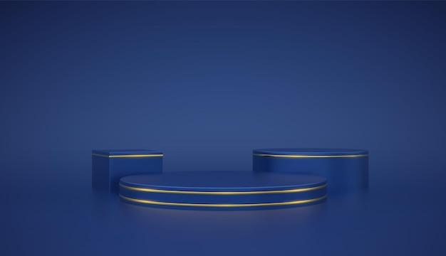 ブルーラウンドとキューブ表彰台。青の背景に金色の円でシーンと3dプラットフォーム。空白の台座の最小限の概念。広告、賞を受賞し、デザインを獲得します。テンプレートを表示して販売します。現実的なベクトル。