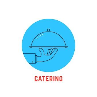 青い丸いケータリングのロゴ。カフェ、ビストロ、カバー、栄養、健康的な料理、宅配便、ダイエットのコンセプト。白い背景で隔離。フラットスタイルトレンドモダンブランドロゴタイプデザインベクトルイラスト