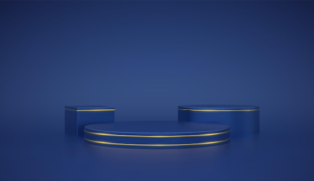 Blue round and cube podium. scene and 3d platform with gold circle on blue background. blank pedestal minimal concept. advertising, award and win design. show and sale template. realistic vector.