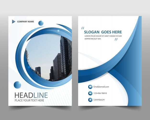 Blue round modern annual report template