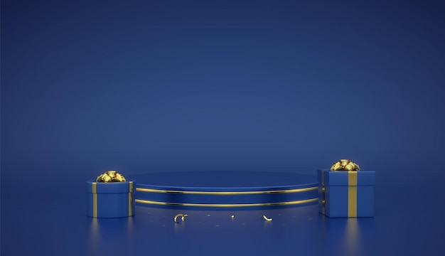 Blue round podium. scene and 3d platform with gold circle on blue background. blank pedestal with gift boxes with golden bow and confetti. advertising, award design. realistic vector illustration.
