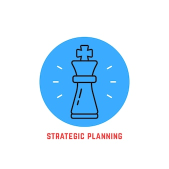 Blue round strategic planning logo. concept of adversary, player, career, boss, leisure, goal, idea, power, attack, analysis. flat style modern logotype design vector illustration on white background