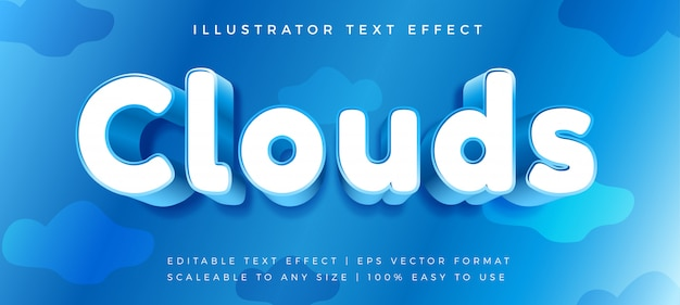 Blue rounded cloud text style font effect