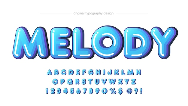 Blue rounded glossy cartoon typography
