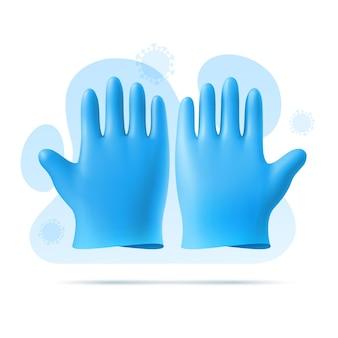 파란색 고무 멸균 의료용, 수술 용 장갑