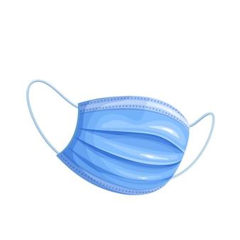 Blue safety breathing mask. illustration of hospital breathing medical respiratory face mask.