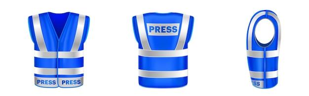 Gilet di sicurezza blu per la stampa con uniforme a strisce riflettenti per giornalisti