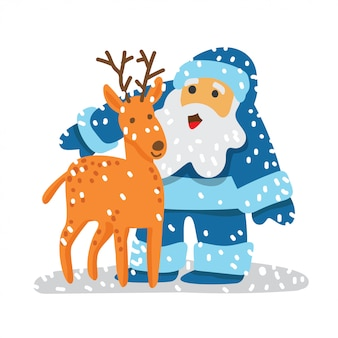 Blue santa claus with his deer illustration