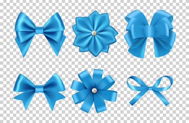 Синие атласные бантики. луки из шелковой ленты с жемчугом, изолированные на прозрачном фоне. атласный бант и шелковое украшение для празднования иллюстрации