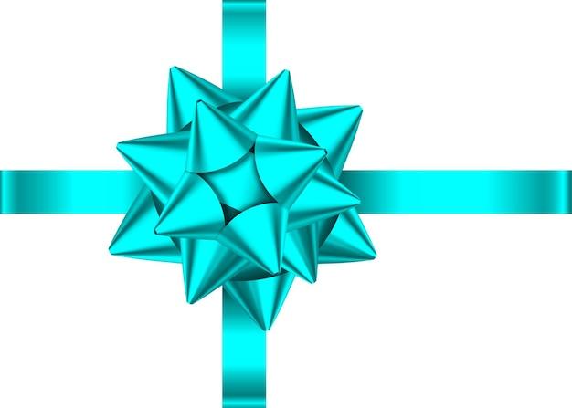 青いサテンのギフトリボンと白い背景で隔離の弓。クリスマス、新年、誕生日の飾り。バナー、グリーティングカード、ポスターの現実的な装飾要素をベクトルします。