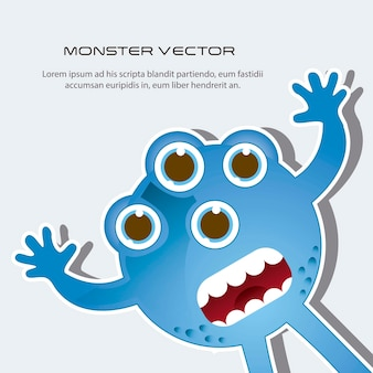 Blue scared monster with space for copy vector illustration