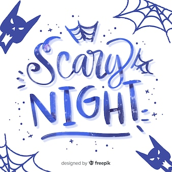 Blue scary night lettering with cats