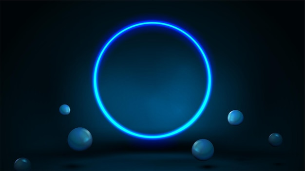 Blue scene with realistic bouncing spheres and neon ring.